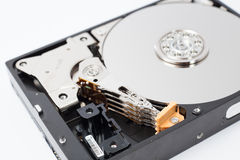 Inside Hard Disk Drive (HDD)-Computer Hardware Components. Royalty Free Stock Photos