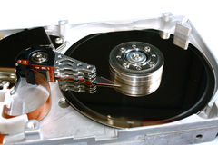 Inside of a hard disk drive (HDD) Stock Photo