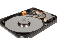 Inside of hard disk drive. HDD isolated on white background Stock Photos