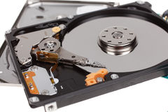 Inside of hard disk drive. HDD isolated on white background Royalty Free Stock Image
