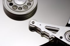 Inside the hard disk drive Royalty Free Stock Images