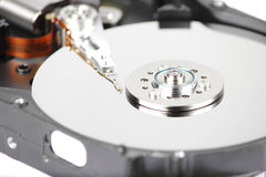 Inside Hard drive closeup Royalty Free Stock Image