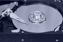 Inside of hard drive,concept  of data and storage Royalty Free Stock Photo
