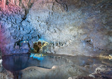 Inside the Harrison's Cave in Barbados. Rocks and Water. Stock Photo