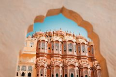 Inside of the Hawa Mahal or The palace of winds at Jaipur India. It is constructed of red and pink sandston stock photography