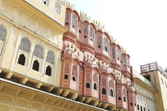 Inside of the Hawa Mahal or The palace of winds at Jaipur India. It is constructed of red and pink sandston stock images