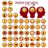 Inside The Heads. 50 icon set. royalty free illustration