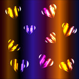 Inside hearts. Two hearts in one (smaller inside bigger), neon colors, hearts falling Royalty Free Stock Photography