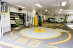 Inside hi-tech car park building at Sapporo in Hokkaido, Japan.  Royalty Free Stock Photography