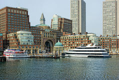 Inside historic rowes wharf in boston. View of the arched entrance to  Historic Rowe's Wharf from inside the wharf in the south end of Boston Massachusetts in Stock Photo
