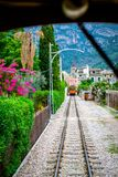 Inside the historic tram. Historic tram in Soller, Spain. Traveling in a tram Royalty Free Stock Photography