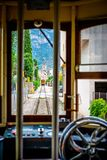 Inside the historic tram. Historic tram in Soller, Spain. Traveling in a tram Royalty Free Stock Images