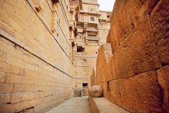 Inside the historical Jaisalmer fort built in 1156 AD, Rajasthan. UNESCO World Heritage Site Royalty Free Stock Image