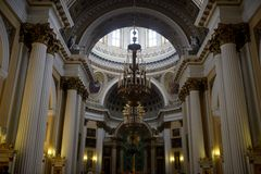 Inside Holy Trinity Alexander Nevsky Lavra, church in Saint Petersburg, Russia Royalty Free Stock Images
