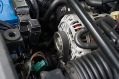 Inside the hood of a Rotary engine sport car Stock Photography