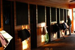 Inside the Horse Barn in Middle Tennessee. Equestrian Horse ranches are very poplar  in Middle Tennessee.  The term Equestrian refers to the skill of riding Royalty Free Stock Photos