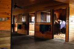 Inside the Horse Stables in Middle Tennessee. Equestrian Horse ranches are very poplar  in Middle Tennessee.  The term Equestrian refers to the skill of riding Royalty Free Stock Images