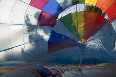 Inside of hot air balloon. Inside shot of hot-air balloon as it's being inflated Stock Photo