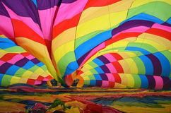Inside a hot air balloon. Hot air ballon being inflated on the ground Stock Photos