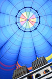 Inside a hot air balloon. View of a hot air balloon from inside with burners Royalty Free Stock Image