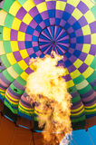 Inside of a hot air balloon with flame Stock Image