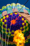 Inside of a hot air balloon with flame Stock Photo