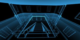 Inside house 3D rendered xray blue Royalty Free Stock Image