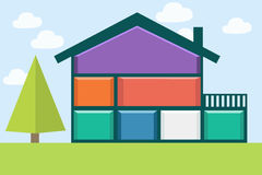 Inside the house. House with colorful rooms on the sky background Royalty Free Stock Photography