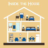 Inside the house. Flat style vector illustration house silhouette with furniture. Stock Photo