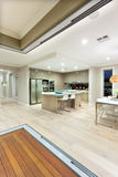 Inside of a house focusing kitchen interior ligting at night Stock Photos