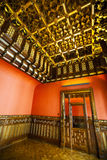 Inside a house historical Spanish, wood finishes, old wooden door Royalty Free Stock Photos