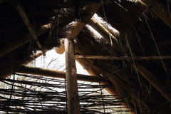 Inside house with thatch roof in open-air museum Royalty Free Stock Images