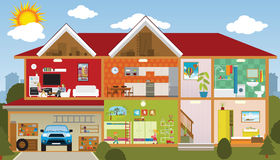 Inside the house. Vector illustration of the house (cross section of the house Stock Images