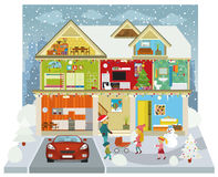 Inside the house (Winter) royalty free illustration