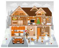 Inside the house (Winter) stock illustration
