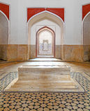 Inside humayuns tomb with marble tomb Royalty Free Stock Image