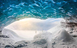 Inside ice cave in Vatnajokull, Iceland . stock photo