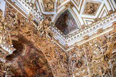 Inside Igreja e Convento de São Francisco in Bahia, Salvador - Brazil. Celing of the church royalty free stock image