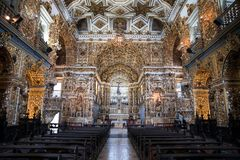 Inside Igreja e Convento de São Francisco in Bahia, Salvador - Brazil. With gold walls royalty free stock photography