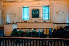 Inside independence hall taking a tour stock image