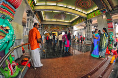 Inside an Indian Temple in Singapore Royalty Free Stock Photo