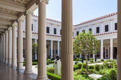 Inside the inner peristyle of the Getty Villa. View of the garden from the inner peristyle of the Getty Villa in Los Angeles Stock Image