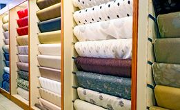 Inside Interior of a Carpet Store stock photography
