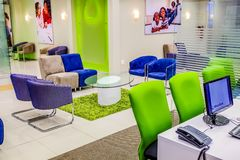 Inside Interior of a Modern African Bank stock images