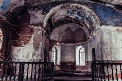 Inside Interior of an old Abandoned Church in Latvia, Galgauska - light Shining Through the Windows stock photos