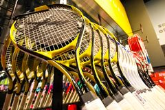 Inside Interior of a Sports Equipment Store stock photos