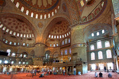Inside the islamic Blue mosque Stock Photography