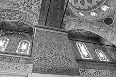 Inside the islamic Blue mosque, Istanbul, Turkey. Black and white filter Royalty Free Stock Photo