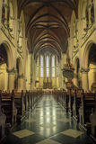 Inside Jakarta cathedral. View down the aisle of Jakarta cathedral Royalty Free Stock Image