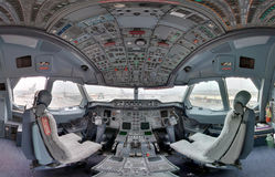 Inside jetliner cockpit Royalty Free Stock Image